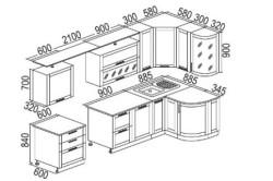Чертеж кухонного гарнитура с гнутыми фасадами