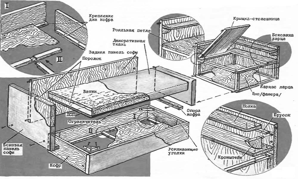 Чертеж раскладного углового дивана
