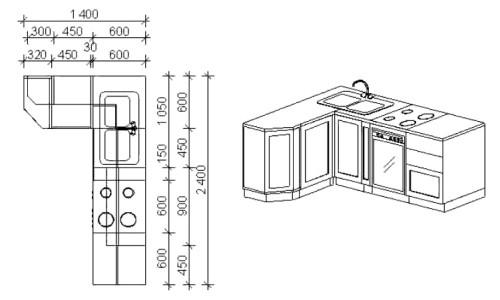 Чертеж разметки стола-мойки для кухни