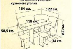Габаритные размеры кухонного уголка