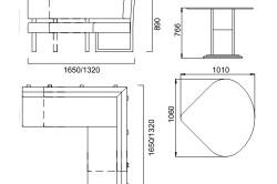 Примерные размеры кухонного уголка