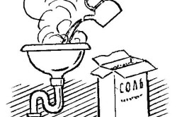 Прочистка засора солью и кипятком