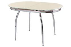 Раздвижной стол со стеклом и с металлическими ножками