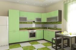 Зеленая кухня в стиле модерн