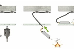 Схема прокладки проводки и монтажа точечного светильника в подвесном потолке