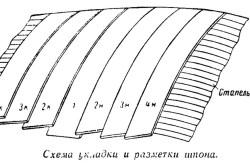 Схема укладки и разметки шпона
