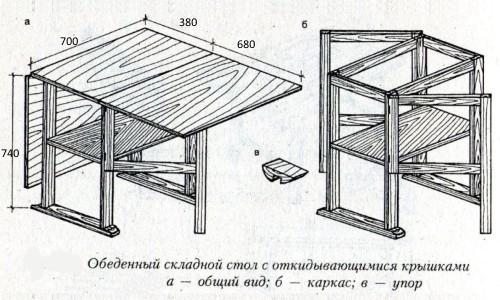 Обеденный раскладной стол-тумба