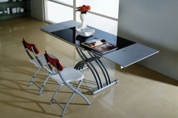 Стеклянный стол трансформер обеденный
