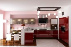 Розово-бордовая кухня