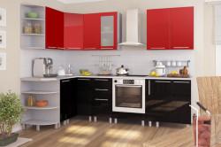 Красно-черный гарнитур для небольшой кухни