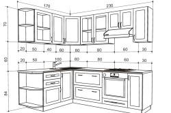 Чертеж корпусного кухонного гарнитура