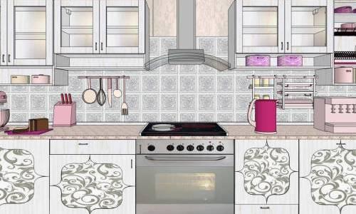 Пример декупажа кухонной мебели
