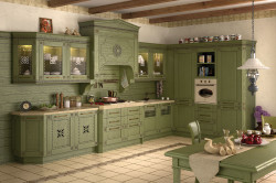 Фисташковая кухня в деревенском стиле