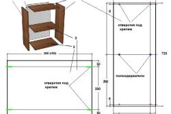 Чертеж прямого шкафа для кухни