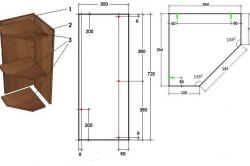 Чертеж углового открытого шкафа для кухни