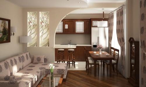 Вариант перепланировки кухни и гостиной в панельном доме
