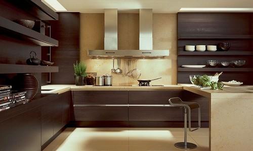 Кухня выполненная в коричневых тонах