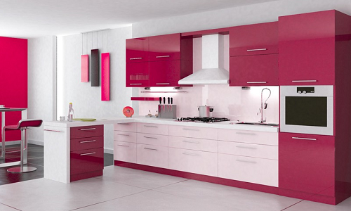 Кухня в бордовых тонах