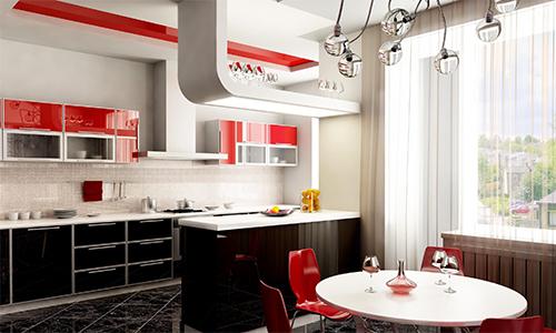 Дизайн кухни в красных и черных тонах