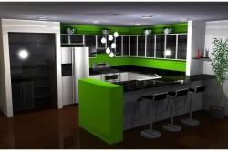 Кухня в черно-зеленых тонах