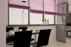Баклажановые шторы на кухне