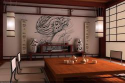 Стены на кухне в японском стиле