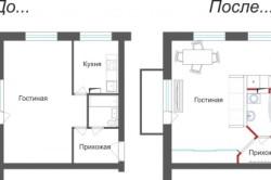 Объединение кухни и жилой комнаты