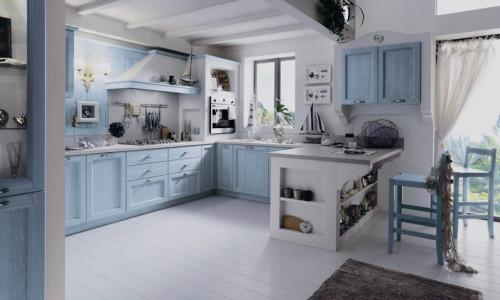 Кухня выполненная в нежно-голубых тонах