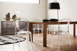 Прозрачные стулья с классическим деревянным столом
