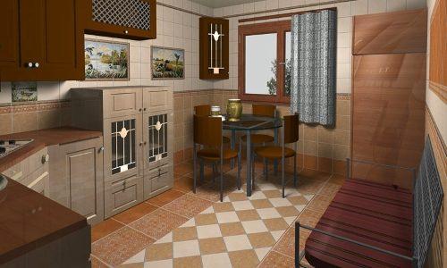 Кухня с керамической напольной плиткой