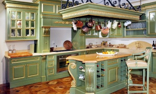 Оливковая кухня в стиле прованс