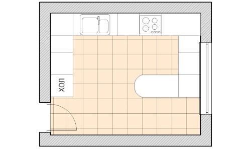 Схема полуостровной планировки кухни