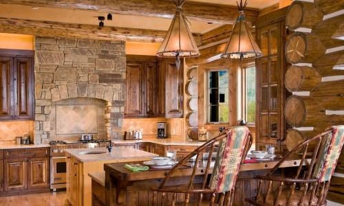 Оригинальный стиль шале на кухне