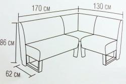 Габаритные размеры кухонного углового дивана