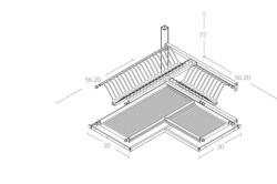 Схема встраивания угловой двухуровневой сушки для посуды