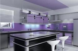 Кухня баклажанового оттенка в стиле хай-тек