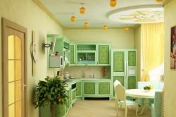 Фисташковый гарнитур на кухне