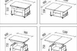 Чертеж мобильного раздвижного стола для узкой кухни