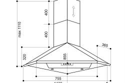 Схема угловой вытяжки для кухни