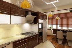 Кухня зебрано в сочетании со стенами светлого цвета