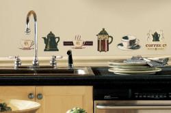 Однотонные виниловые обои на кухне с наклейками