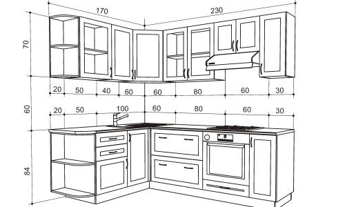 Чертеж углового кухонного гарнитура с размерами