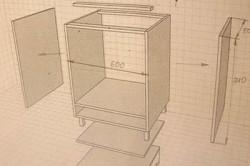 Пример стандартных размеров кухонного корпуса